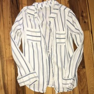 White blue striped button long sleeve